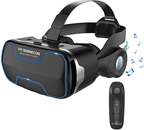 2020最新改良版VRゴーグルVRヘッドセット VRヘッドマウントディスプレイ 3D スマホVR 取り外すヘッドホン付き  モバイル型 瞳孔/焦点調節 非球面光学レンズ 4.7~6.5インチスマホ 本体操作可 電話応答可 眼鏡対応 1080PHD高画質 Bluetoothコントローラ付 600度近視&遠視適用 フロントパネル取り外す可 放熱性よい 120°視野角 着け心地よい  4.7~6.5インチまでのスマホ対応 日本語説明書付 父の日プレゼント