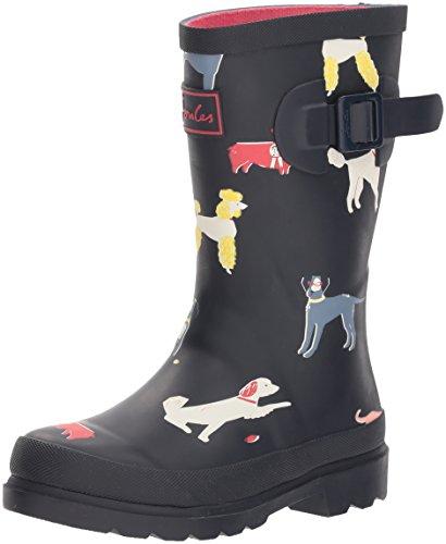 Joules Girls' JNRGIRLSWLY Rain Boot, Navy Sunday Best Dog, 3 Medium US Toddler