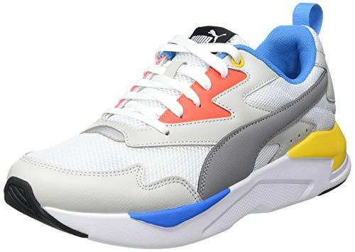 PUMA Unisex-Erwachsene X-ray Lite Sneaker, Weiß-Stahl Grau-Grau Violett-Paprika-Dresden Blau, 35.5 EU