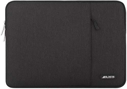 MOSISO Laptop Sleeve Hülle Kompatibel mit 13-13,3 Zoll MacBook Pro, MacBook Air, Notebook Computer, Polyester Vertikale Stil Laptoptasche, Schwarz