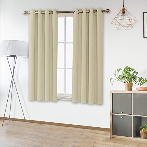 Amazon Brand – Umi Cortinas Habitacion Termicas Aislantes Frio y Calor para Dormitorio Salón Hotel Casa con Ojales 2 Paneles 140 x 180 cm Beige Oscuro