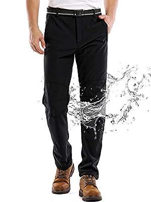 Jessie Kidden Waterproof Pants Mens, Hiking Snow Ski Fleece Lined Insulated Soft Shell Winter Pants with Belt #5088-Black,36