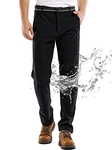 Jessie Kidden Waterproof Pants Mens, Hiking Snow Ski Fleece Lined Insulated Soft Shell Winter Pants with Belt #5088-Black,32
