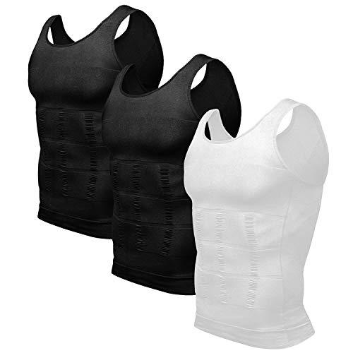 Odoland Men's 3 Pack Body Shaper Slimming Shirt Tummy Lose Weight Shirt, Black/Black/White, M