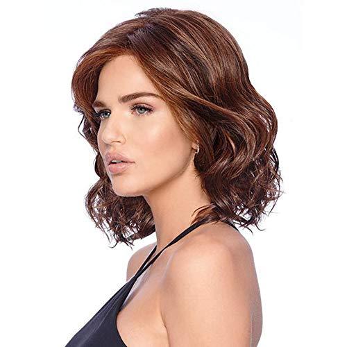MEROURII Perruque Courte Bouclée, Femmes Perruque Brun Naturel de Bob Perruque en Soie Synthétique Fibre Haute Température Cheveux Courte Bouclée