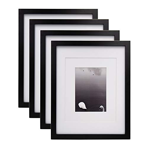 Egofine 11x14 Picture Frames Made of Solid Wood 4 PCS Black - for Table Top and Wall Mounting for Pictures 8x10/5x7 with Mat or Horizontally or Vertically Display Photo Frame Black