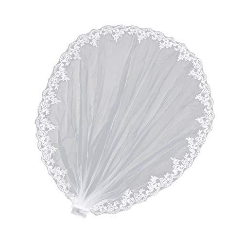 Voile de mariée Lurrose Voile de mariée en dentelle à 1 rangée avec peigne Voile de mariée élégant pour mariée Accessoires pour cheveux de mariée (Blanc)