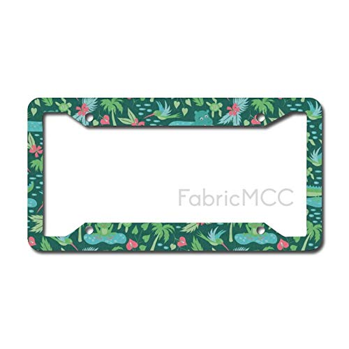 Dom576son License Plate Frame Frogs Baby Kid Tropical Jungle Design with Frog Flamingo Turtle Crocodile Hummingbirds Metal Tag Border US Size 12 x 6 Inches Auto License Plate Holder