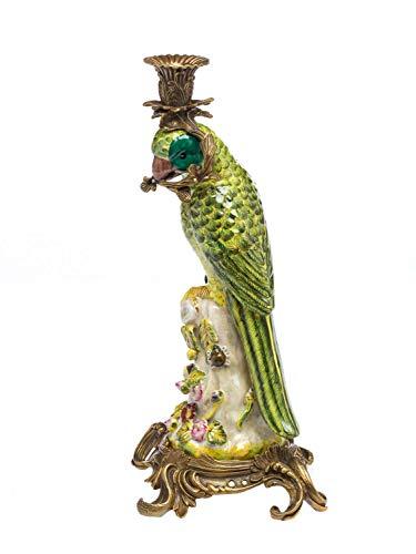 aubaho Bougeoir - Motif Perroquet - Style Antique - Porcelaine/Bronze - 37 cm