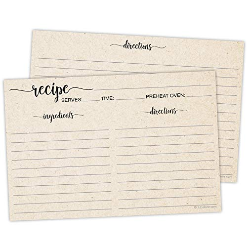 "321Done 4"" x 6"" Recipe Cards (Set of 50) - Thick Double Sided Premium Card Stock with Kraft Paper Look - Made in USA - Script Font Minimalist, Large Tan"