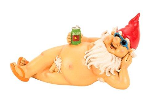 Gartenzwerg nackt 26 cm liegend mit roter Mütze Figur FKK frecher Zwerg