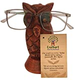 Owl Spectacle Holder Display Stand | Wood Hand Carved | Brown Color | Wooden Tabletop Countertop Accessories | Optical Glass Protection | Home Office Desk Supplies | Home Decor | Decoration Gifts