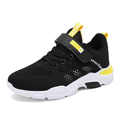 TUDOU Kinder Schuhe Sportschuhe Atmungsaktiv Jungen Sportschuhe Klettverschluss Sneaker Freizeit Turnschuhe für Unisex-Kinder 28-39 (Gelb, Numeric_35)
