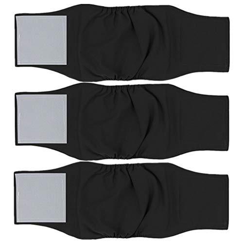 Amaliy - 3 Paquetes de pañales de Perro Lavables, Diadema antipipipipipipi Reutilizable para Perro, Color Negro