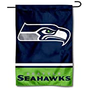 "12.5"" x 18"" in Size with Top Pole Sleeve for hanging from your Garden Stand (Accessories Sold Separately) Made of Double Sided 2-Ply 100% Polyester with Sewn-In Liner, Double Stitched Perimeter Sewing, Imported Seattle Seahawks Logos are Screen Print..."