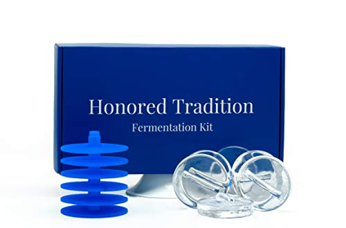 HONORED TRADITION Food Fermentation 6-PACK of LIDS AND 6-PACK of WEIGHTS for fermenting Sauerkraut, Kim Chi, Pickles Or Any Fermented Probiotic Foods. Fits wide mouth mason jars.