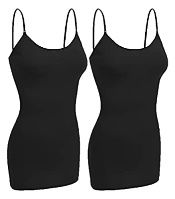 Emmalise Women Basic Built In Bra Spaghetti Strap Layering Cami Top Tank - Sml To 3XL
