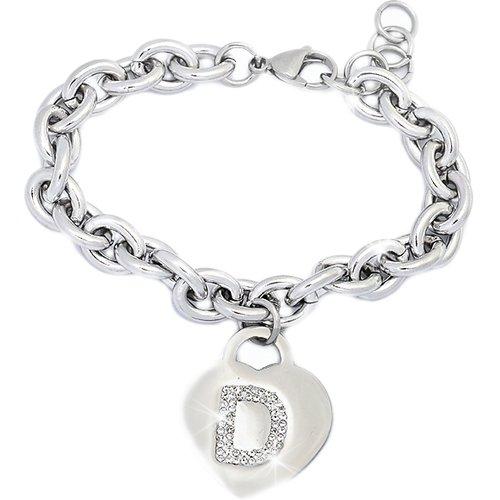 Beloved Braccialetto donna con cristalli in acciaio con lettera - bracciale con iniziale charm cuore e cristalli argento - alfabeto - misura regolabil