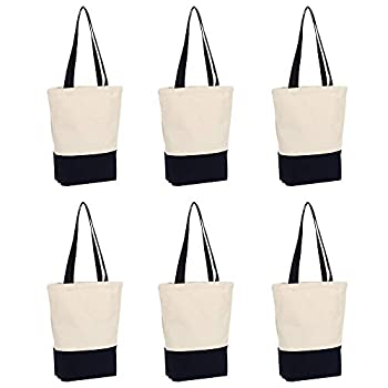 Heavy Duty 12 oz Canvas Tote Bags DIY for Crafting and Decorating Reusable Grocery Washable Bag Shopping Bag 17x14x4 Inches - 6 Pack  Dark blue