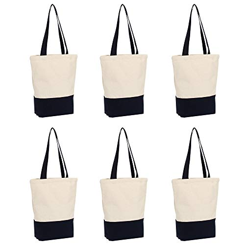 6 pack 12 oz heavy canvas tote bags with 28'' self fabric handles SIZE:17x14x4 Inch COLORS: Dark blue / Natural Great Large Size featuring our extra long handles makes it easily carried upon the shoulder to reduce the overall carrying load. Personali...