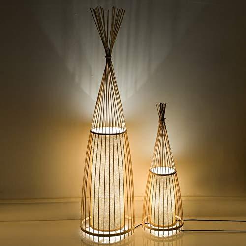 Tivivose Lámparas de Piso de bambú Chino Lámparas de pie Lámpara de pie LED for Sala de Estar Luces de Piso Decorativas Lampara de Pie Lámpara Lámpara (Lampshade Color : 30x91CM)