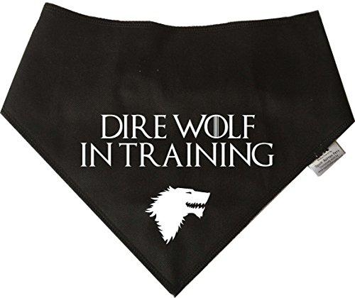 Spoilt Rotten Pets S4 Halstuch für Hunde, Halloween, Game of Thrones Direwolf, groß, Schwarz Geeignet für Husky, GSD, Newfies & Chow Chow-Größen.