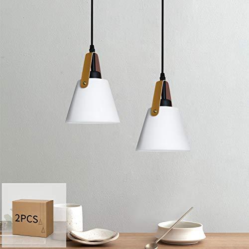 GBLY Lámpara colgante vintage blanco E27 lámpara de mesa de comedor de plástico en aspecto metal, 2 piezas, lámpara de estilo industrial para cocina comedor sala de estar barra (sin bombilla)