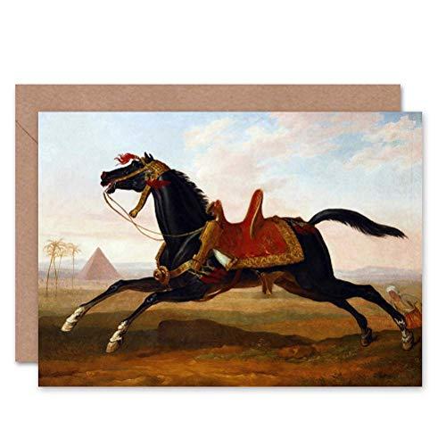 Wee blauwe Coo CARD GREETING cadeau schilderij dierlijke portretten STUDY VERNET MAMELUKE MAMLUK HORSE