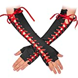 Skeleteen Fingerless Lace Up Gloves - Long Black Costume Elbow Arm Warmer Accessories with Red Satin Laced Tie for Dress Up