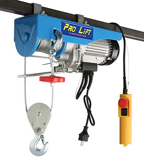 Pro-Lift-Werkzeuge Elektrische Seilwinde 800kg mit Fernbedienung 230V Motorwinde Seilzug Kran Winde Elektrowinde