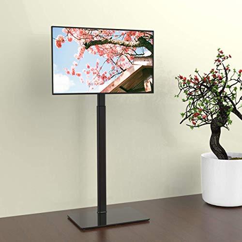 Hemudu TV Bodenständer TV Standfuß TV Ständer Fernsehstand Glas höhenverstellbar schwenkbar für 19 bis 42 Zoll Flachbildschirm