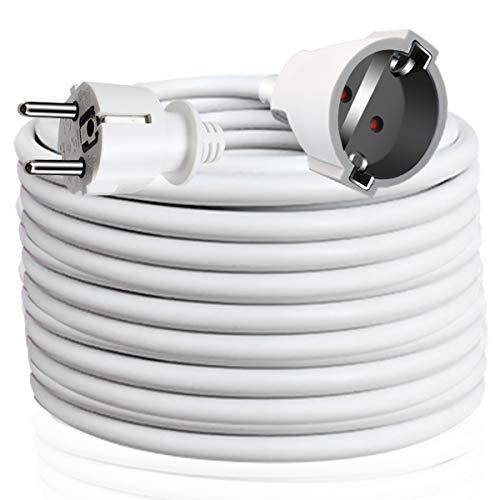 EXTRASTAR Cable Extensible con PROTECCIÓN, Cable Extensible electrico 10 Metros 230V / 16A / máx. 3680W Blanco