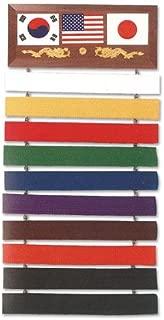 MTI Deluxe Martial Arts Karate Judo Ten Level Belt Wall Display Rack Holder Show Case Wood Plaque