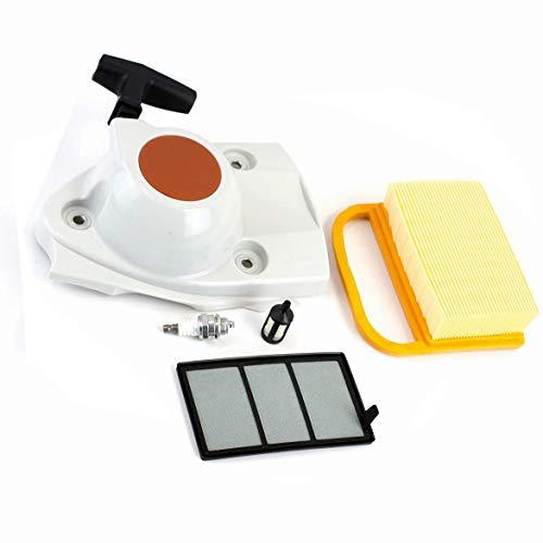 Hippotech Starter-Seilzugstarter mit Zündkerze, Luftfilter, Kraftstofffilter, passend für Stihl TS410 TS420