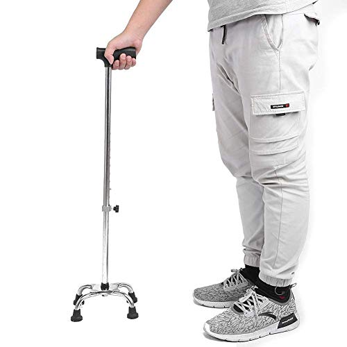 Bastón para caminar para ancianos, de acero inoxidable Nivel 9 Muletas de altura ajustables con soporte de 4 pies Paseo, caminante retráctil para los ancianos Baston de senderismo