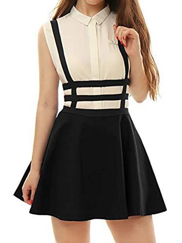 Damen A-Line Träger Mini Plissiert Rock Hosenträger Röcke, Schwarz