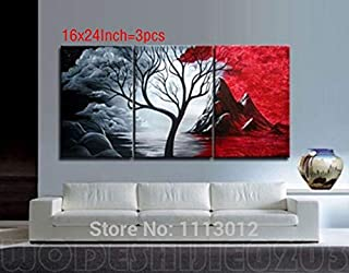 DIU 100% Handmade 3 Pcs Set Abstract Tree Hill Clouds Oil Painting On Canvas Picture Home Wall Decoration Art Modern For L...