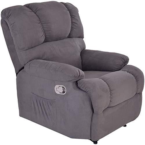 MACOShopde by MACO Möbel Raburg TV-Sessel Henry - mechanischer Schlafsessel mit Liege- und Relaxfunktion, Mikrofaser-Stoff Velour, GRAU