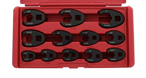 ABN Jumbo Crowfoot Flare Nut Wrench Set SAE Standard 12-Piece Tool Kit for...