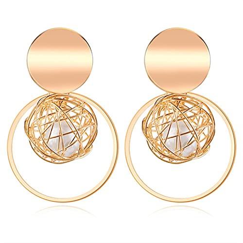 Pendientes redondos llamativos para mujer, pendientes geométricos de concha de oro, pendientes colgantes, joyería de moda, oro 150