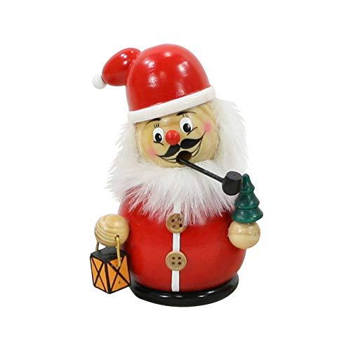 Dekohelden24 Lustiges Räuchermännchen Weihnachtsmann mit Tanne und Laterne, ca. 12 cm