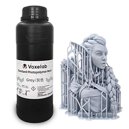 Voxelab 3D Printer Resin 0.5kg/bottle, 405nm UV-Curing 3D Resin with High Precision and Quick Curing & Smooth Surface for LCD 3D Printing (grey)