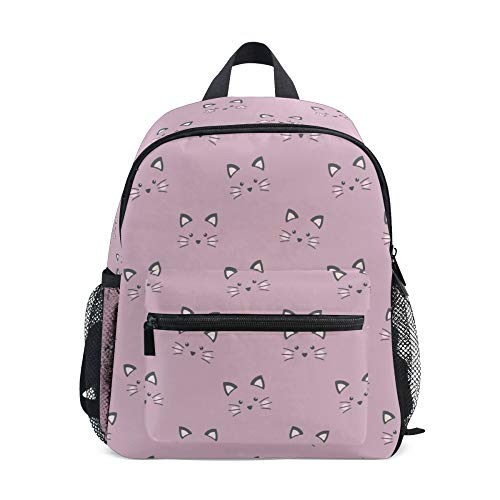 Children's Backpack, Kids Schoolbag Cute Cat Pink Students Bookbag for Boys Girls, Chest Strap