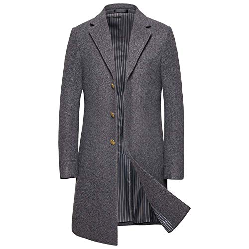 ZWLXY Mens Trench Coat Herbst-Winter-Lange Jacke Overcoat,Grau,6XL