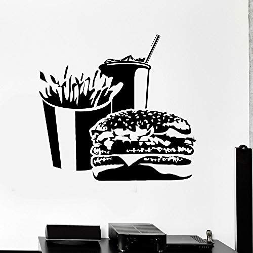 sanzangtang Hamburger Wandtattoo Pommes Frites Soda Tür und Fenster Aufkleber Vinyl Snack Bar Fast-Food-Restaurant Innenpapier,