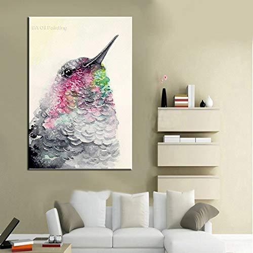 WunM Studio olieverfschilderij op canvas met de hand geschilderd, grote maat modern abstract schilderen, dier grijs, kleurrijke vogel ladder, kunst decoratie voor home ingang woonkamer slaapkamer kantoor volwassenen geschenken 140 x 210 cm