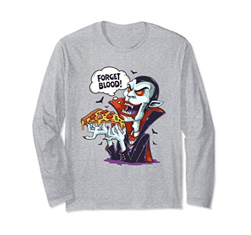 Divertido Disfraz de Vampiro Comiendo Pizza en Halloween Manga Larga