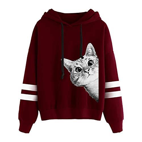 Sweatshirt Pullover Womens Long Sleeve Stripe Print Jumper Hoodie Sweatshirt Pullover Tops