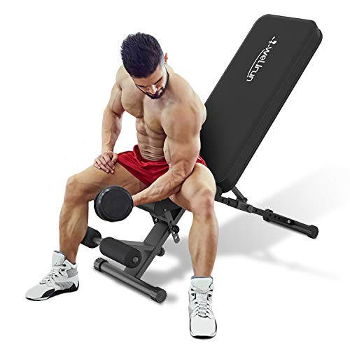 Weight Bench Adjustable Workout Bench Press Foldable Incline/Decline Lifting Exercise Bench Sit Up Multi-Purpose Strength Training Benchs for Home Gym