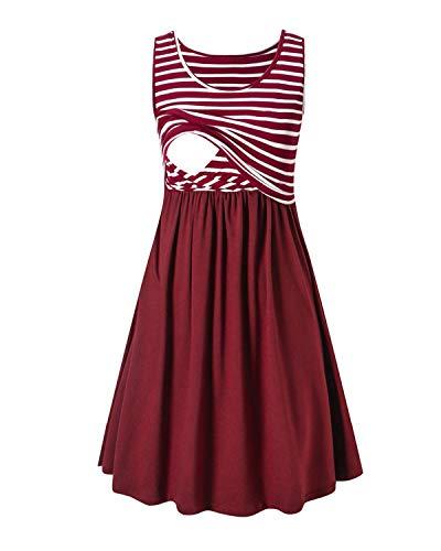 Love2Mi Damen Umstandskleid Streifen Stillkleid Ärmellos Schwangere Sommerkleid-Weißer Streifen / Weinrot-XL